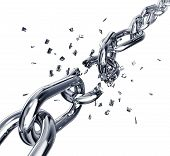 high resolution 3D rendering of a broken chain poster