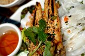vietnamese food chicken goi banh cuon with rice crepe poster