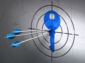 Success safety concept: arrows hitting the center of Blue Key target on wall background, 3d render poster