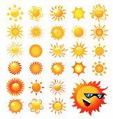 set of sun vector illustration on white background poster