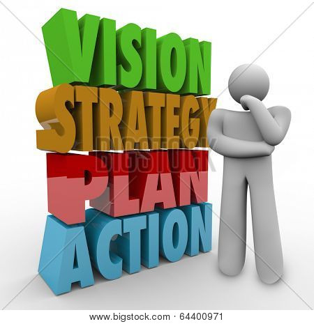 Vision, Strategy, Plan Action Words Thinker Wondering