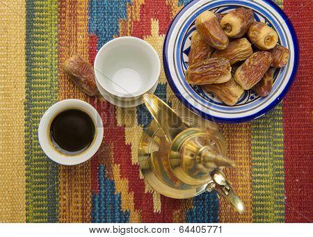 Arabic coffee and dates - bird eye view