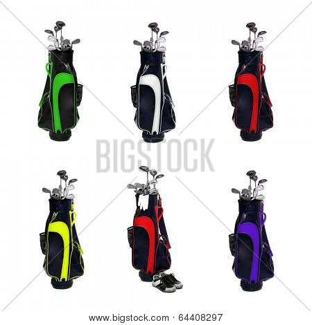 Collection of a golf clubs bags isolated on white background.