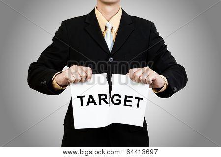 Businessman Tear Target Paper