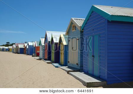 Colorful Boat Houses On Brighton Beach Australia