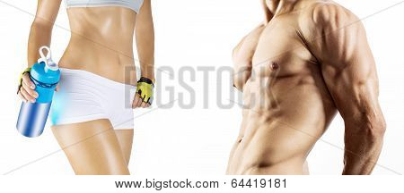 Bodybuilding. Strong man and a woman posing. Isolated on white background poster