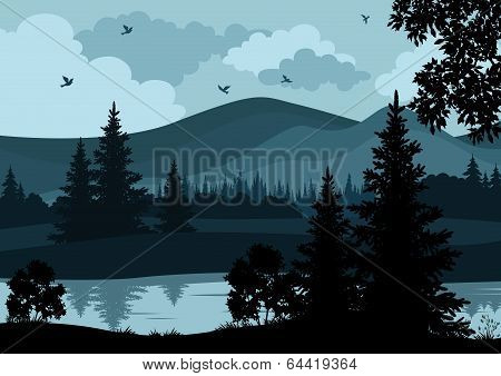 Landscape, trees, river and mountains