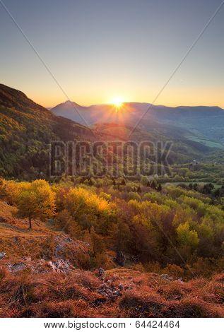 Sunrise In Mountain, Vertical Photo
