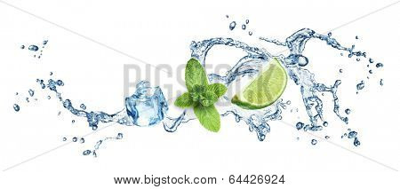 Ice cubes, mint leaves, lime and water splash on a white background. Mojito.
