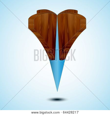 wooden blue Map Pointer Icon Isolated on a white background