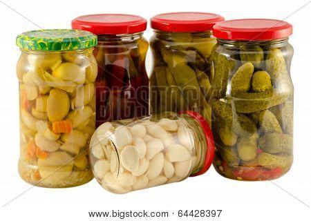 Set Jars Of Pickled Vegetables For Winter Resource