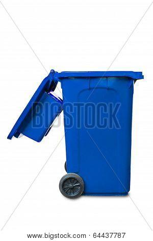 Large Open Lid Blue Garbage Bin