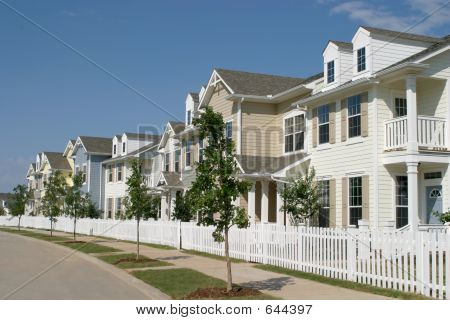 Row Of Suburban Townhouses
