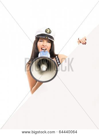 Young, beautiful and sexy sailor girl isolated on white background poster