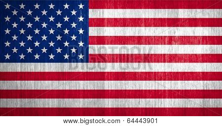 Us Flag On Wood Background