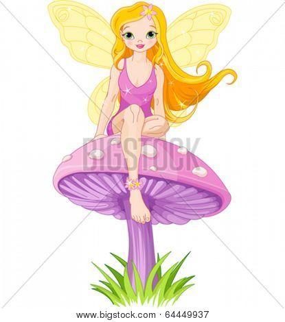 Cute  fairy elf sitting on mushroom