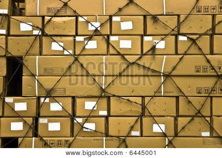 Multiple Cargo Boxes With Secure Netting Abstract Background.