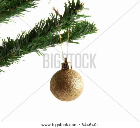 Golden Ball on Christmas tree branch