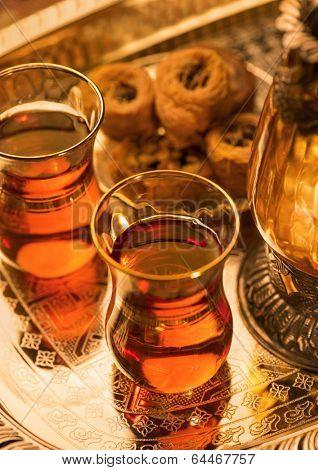 Arabic sweet and tea and lantern