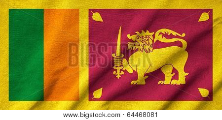 Ruffled Sri Lanka Flag