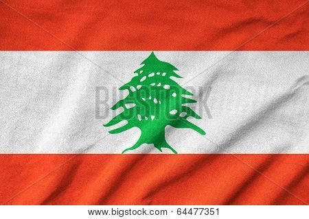 Ruffled Lebanon Flag