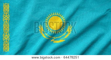 Ruffled Kazakhstan Flag