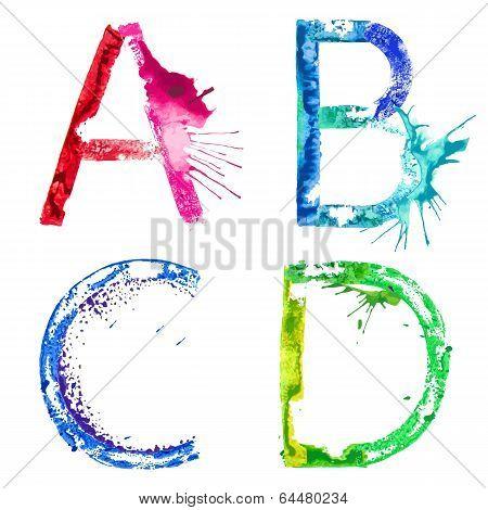 Vector paint splash font A,B,C,D