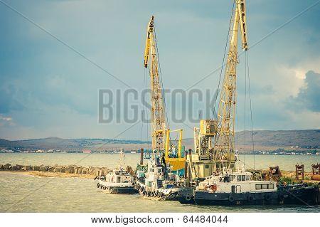 Sea Port Crane And Ships Cargo Industrial Construction Building