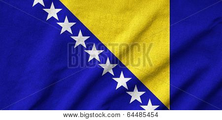 Ruffled Bosnia And Herzegovina Flag