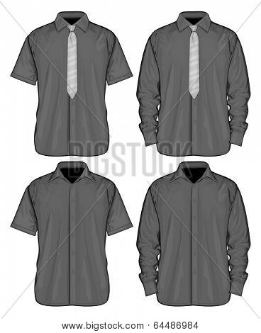 Vector illustration of dress shirts (button-down) with  and without neckties. Short and long sleeve. Front view.