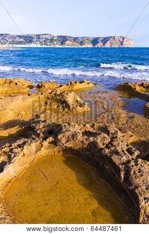 Javea Xabia Muntanyar beach Tosca stone at Alicante Mediterranean Spain