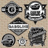 set of vector labels on the topic gasoline poster