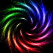 abstract rainbow colorful stars with shining light rays in spiral over dark background poster