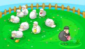 good black sheep in spoil white sheep herd. have courage to be different in good things. (vector) poster