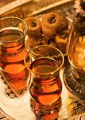 Arabic sweet and tea and lantern poster
