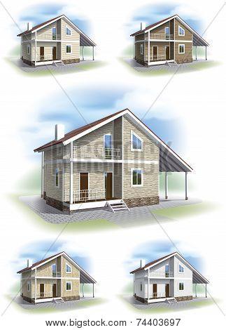 House with decorative siding trim.