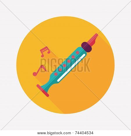 Recorder Flat Icon With Long Shadow,eps10