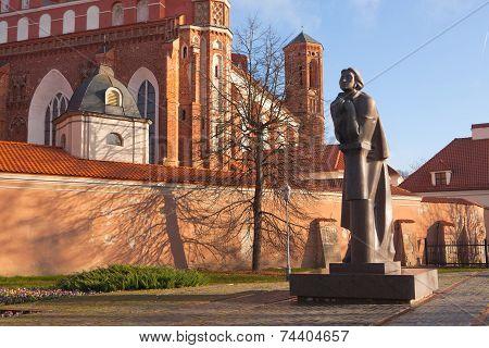 Adam Mickiewicz Monument In Vilnius