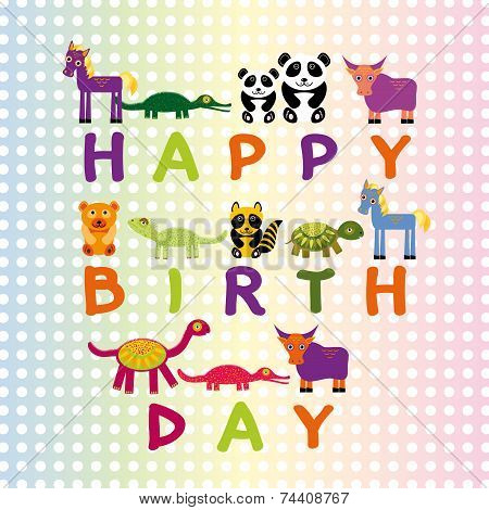 Happy birthday card on pastel color background Funny Animals. Vector happy birthday card template poster