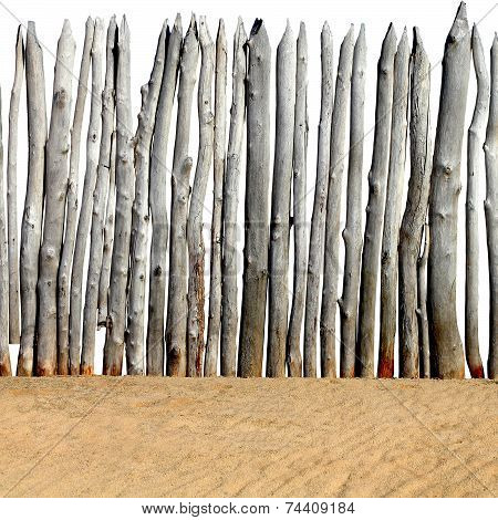 Wooden Fence On The Sand