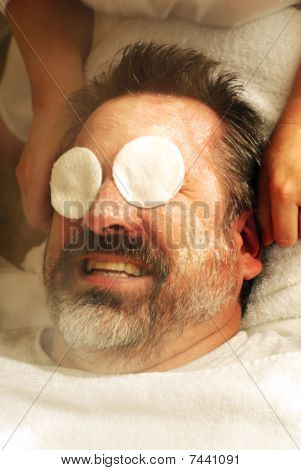 Mature man having facial
