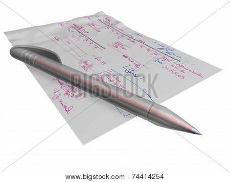 pen laying on a page of formulas with annotations
