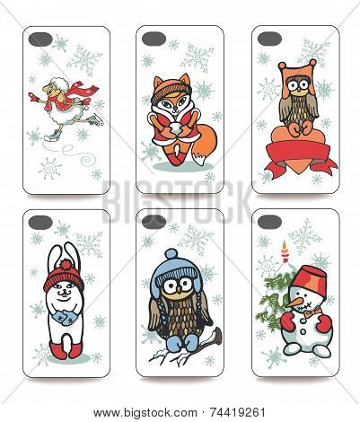 Mobile phone cover  back set .Winter funny animals.Christmas