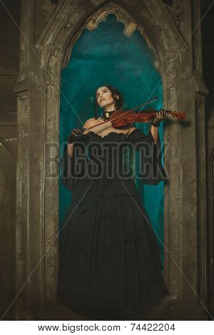 Secret Medieval Girl Playing The Violin At Night.