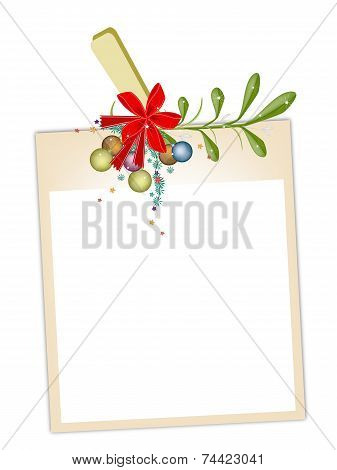 Blank Photos with Mistletoe Hanging on Clothesline