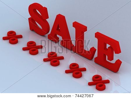 Glossy red three-dimensional inscription Sale as a sign. poster