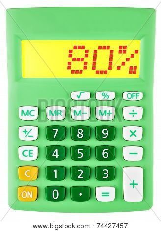 Calculator With 80 On Display On White