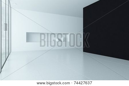 3D Rendering of Modern design empty room interior with alcove and a black colored wall
