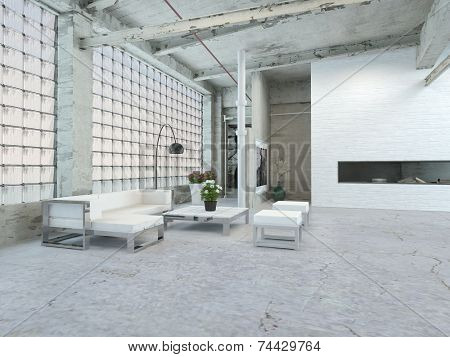 3D Rendering of Beautiful Architectural Living Room Interior Design with White Table and Chairs.