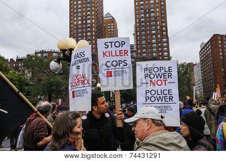Stop Killer Cops signs in Union Square